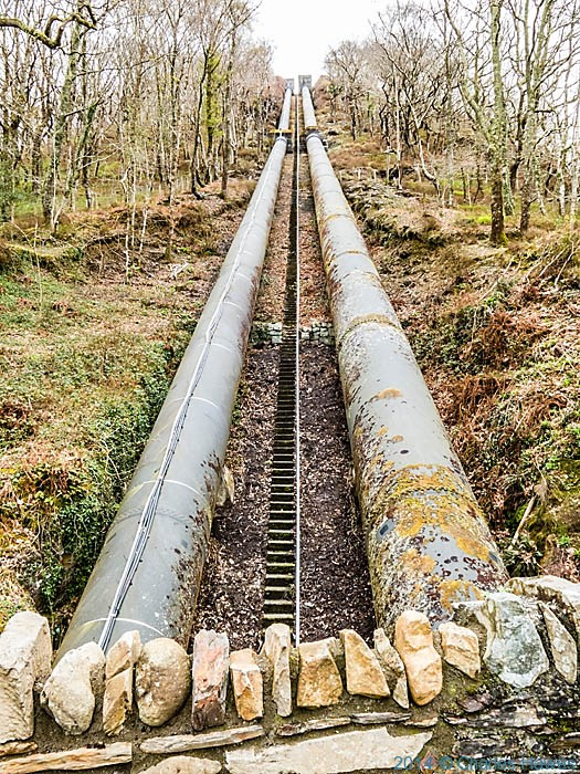 Water pipes feeding the Maentwrog hydro power station, photographed from The Wales Coast Path by Charles Hawes