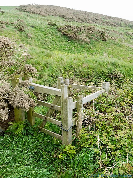 Locked footpath gate near Penrhyn Mawr, photographed by Charles Hawes
