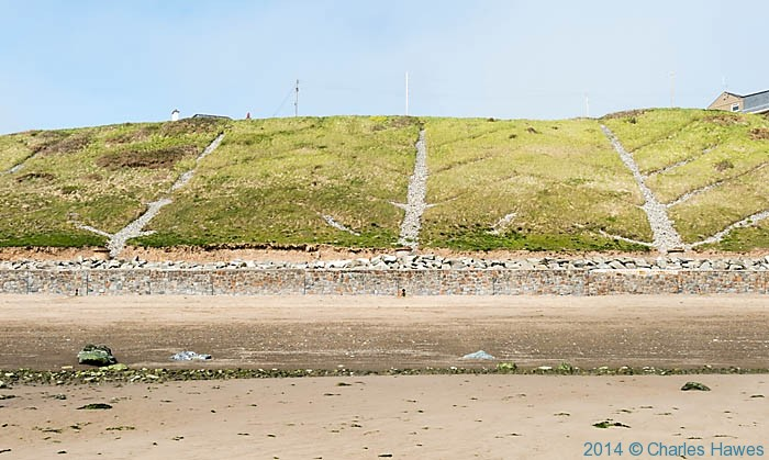Drainage channels in the hillside above Aberdarn beach, photographed by Charles Hawes