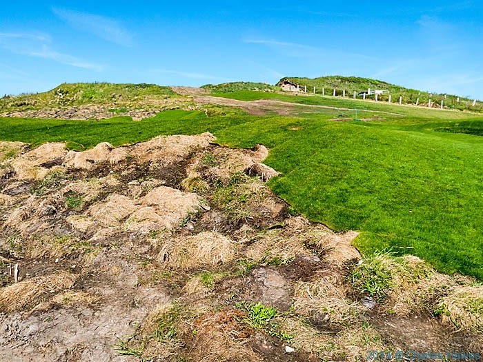 Newly laid section of  goldf course at Porth Dinllaen, photographed from The Wales Coast Path by Charles Hawes