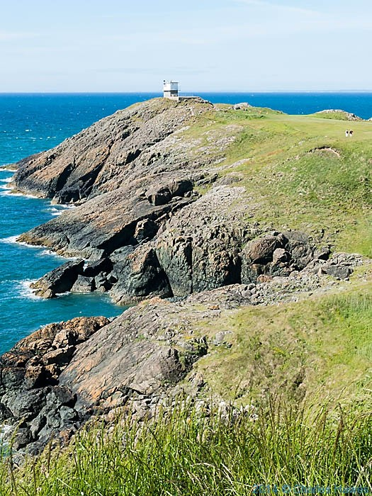 The Coastguard lookout tower on Trwyn Porth Dinllaen, photographed from the Wales Coast Path by Charles Hawes