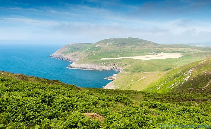 View to Porth Llanllawen from Mynydd Mawr, photographed from The Wales Coast Path by Charles Hawes