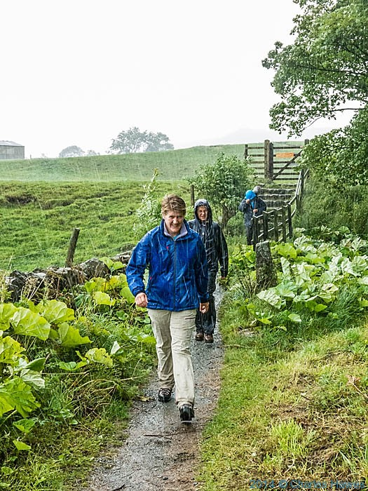 Clare Balding walking the Dales Way near Burnsall, photographed by Charles Hawes