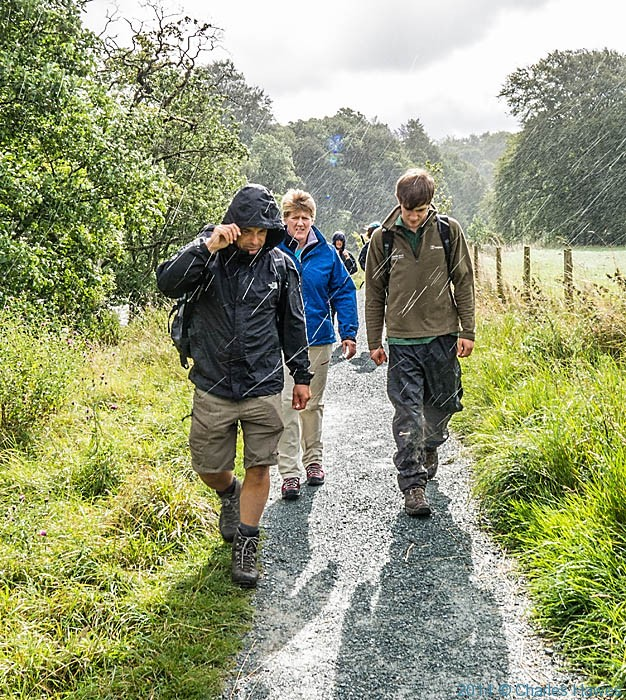 Clare Balding walking the Dales Way near Barden Bridge for BBC Radio 4 Ramblings programme, Photographed by Charles Hawes