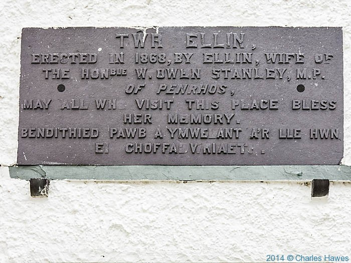 Plaque on Ellin's Tower, south Stack, Anglesey, photographed by Charles Hawes