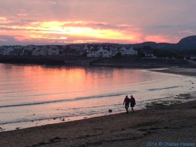 Sunset at Trearddur Bay, Anglesey, photographed by Charles Hawes