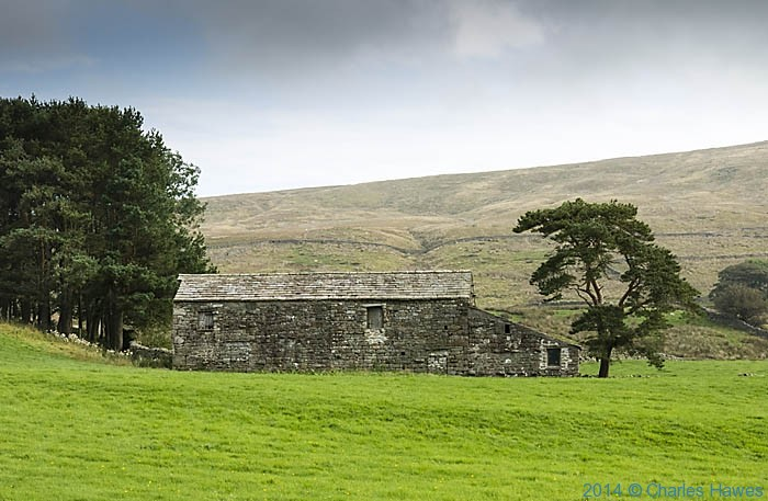 Stone barn near Sedburgh, Cumbria, photographed from The Dales High Way by Charles Hawes
