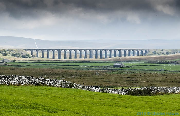 View to the Ribblehead viaduct from The dales High Way, photographed by Charles Hawes