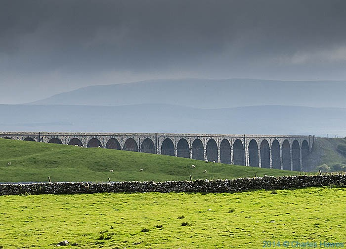 The Ribblehead Viaduct, photographed from The Dales High Way by Charles Hawes