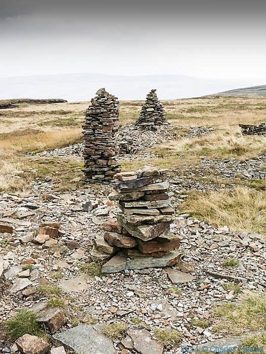Cairns near the summit of Fountains Fell, photographed from The Pennine Way by Charles Hawes