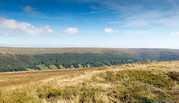 Panorama over Waun fach, in the Black Mountains, photographed by Charles Hawes