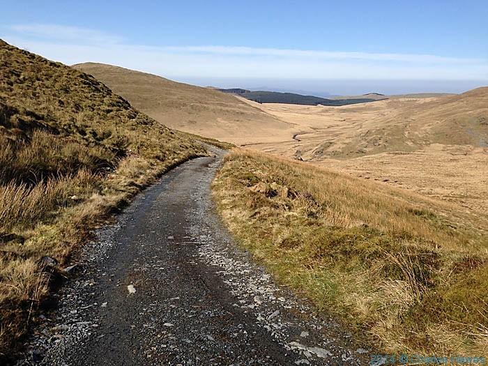 Track leading north from the Llyn Llygad Rheidol reservoir near Plynlimon, photographed by Charles Hawes