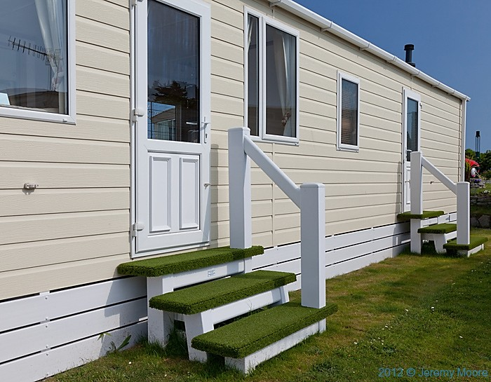 Static caravan, Pwllheli, photographed by Jeremy Moore in Wales at the Water's Edge
