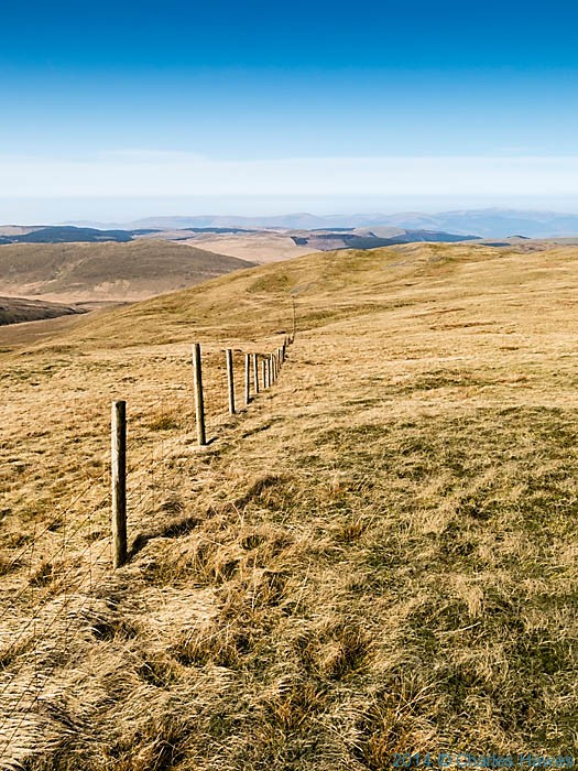 Stock fence near Llyn Llygad below Plynlimon, photographed by Charles Hawes