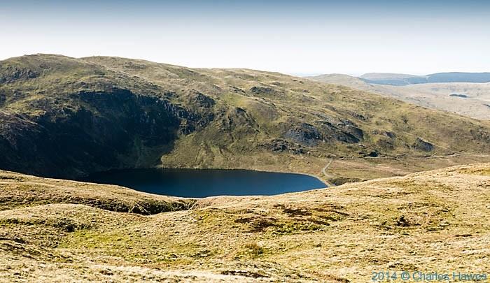 Llyn Llygad Rheidol reservoir, near Plynlimon, photographed by Charles Hawes