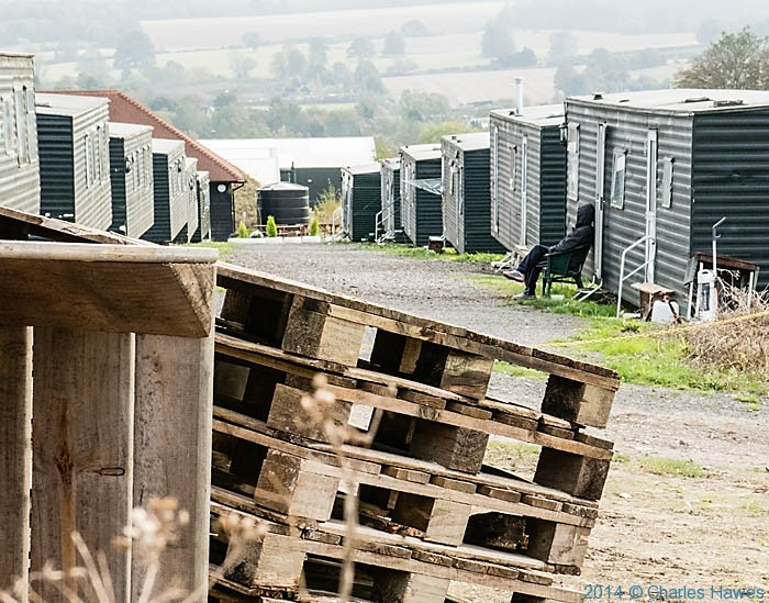 Apple pickers accommodation at mansfields, Kent, photographed from The North Downs Way by Charles Hawes