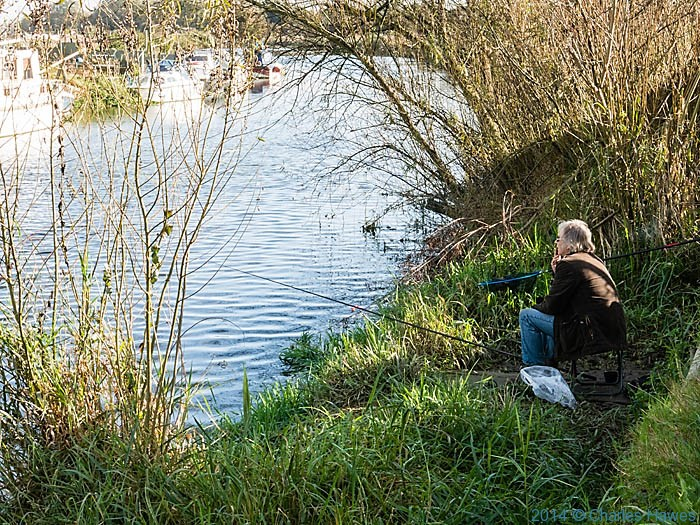 Angler on the river Stour, Kent, photographed from the Great Stour Way by Charles Hawes