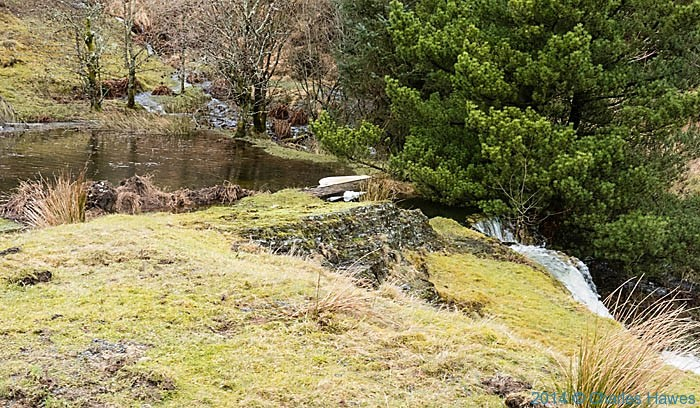 Dam and pond on the River Twymyn near Dylife, Powys, photographed by Charles Hawes