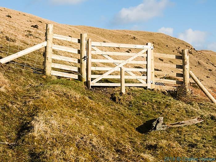 Gate near The Dyfngwm Mine near Dylife, Powys, photographed by Charles Hawes