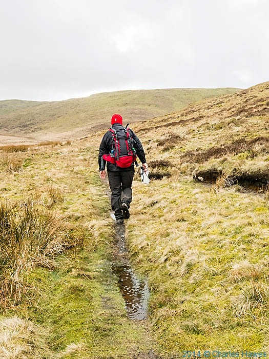 Walking in the Cambrian Mountains below Foel Uchaf, Powys, photographed by Charles Hawes