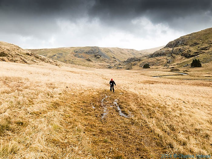 Track near the Nant y Moch resrvoir below Plynlimon, photographed by Charles Hawes