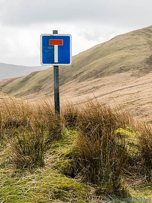 No though Road sign at Hyddgen, Cambrian Mountains, Powys, photographed by Charles Hawes