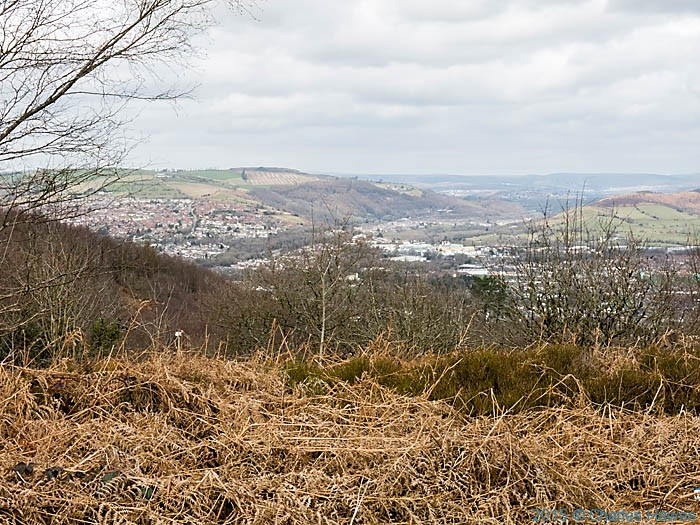 View over Caerphilly from Caerphilly Common, photographed by Charles Hawes