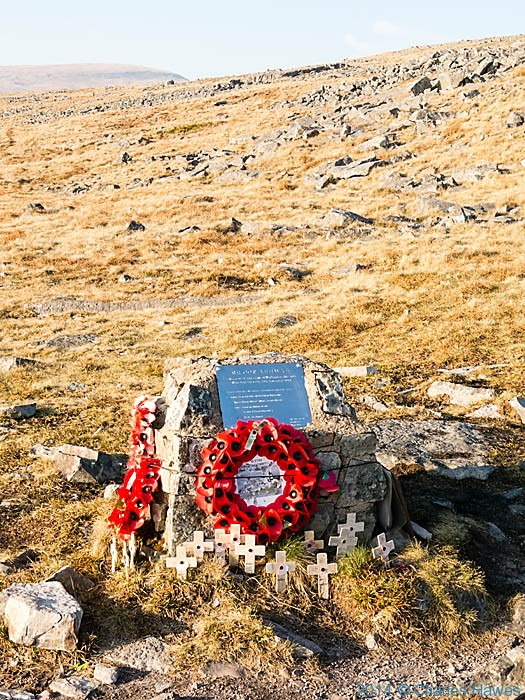 Memorial for crew of Wellington bomber near Careg Goch, Brecon Beacons National Park, photographed by Charles Hawes