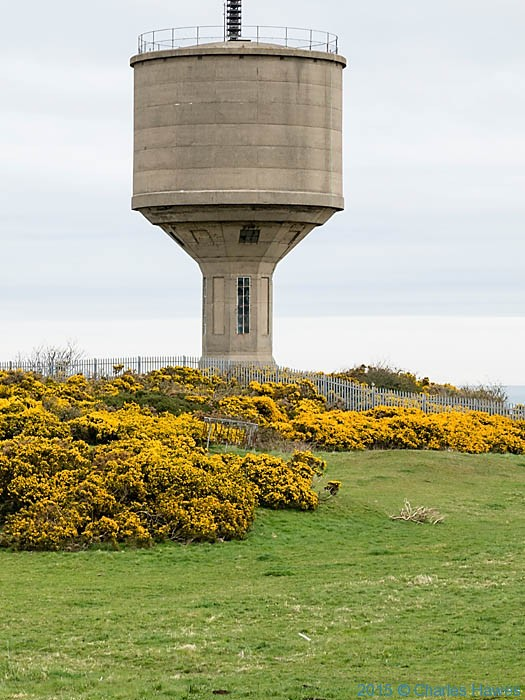 Water Tower at Amlwch photographed from the Wales Coast Path in Anglesey by Charles Hawes