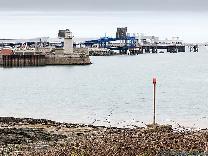 Ferry terminals at Holyhead, photographed from The Wales Coast Path by Charles Hawes