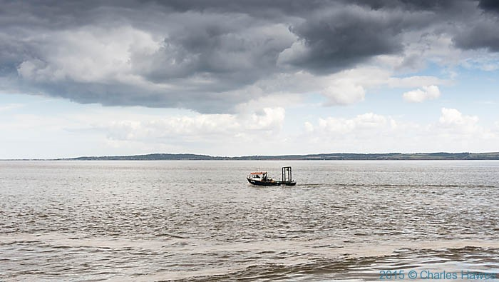 Trawler on the Dee estuary, photographed from the Wales Coast Path by Charles Hawes