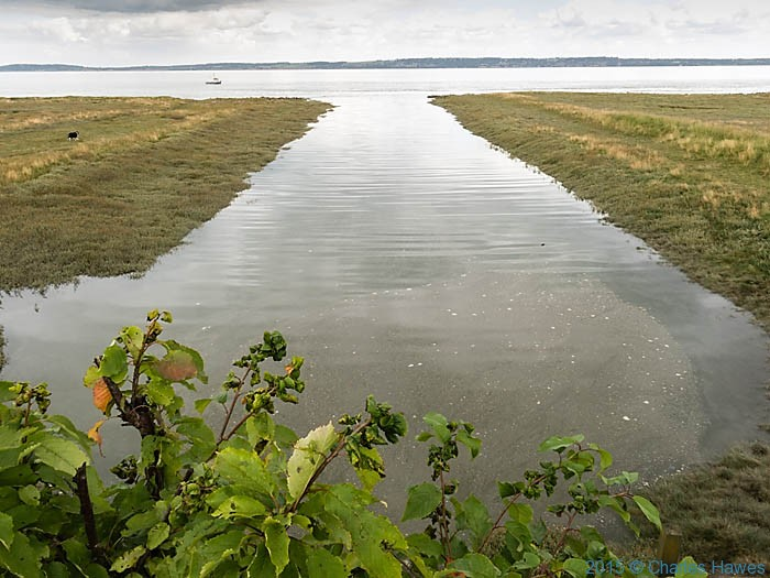 Channel into the Dee estuary, photographed from The Wales Coast Path by Charles Hawes