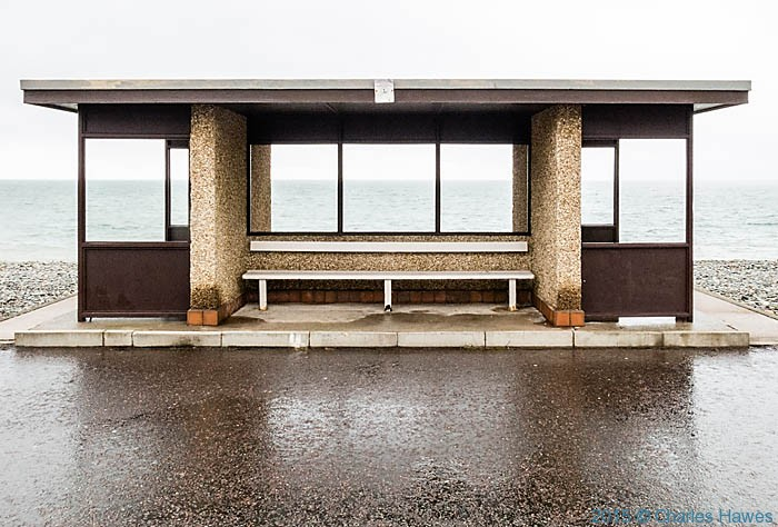 Shelter on Llandudno promenade, photographed from The wales Coast path by Charles Hawes