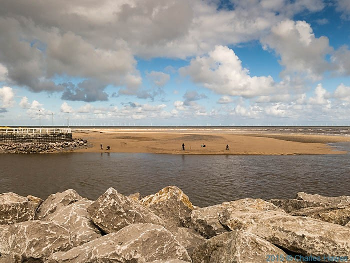 The confluence of the River Clwyd with the sea at Rhyl, photographed from The Wales Coast Path by Charles Hawes