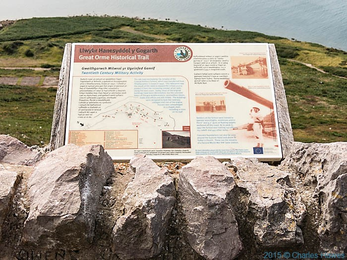 Explanatory board for the Great Orme Gunnery School, photographed from The Wales Coast Path by Charles Hawes