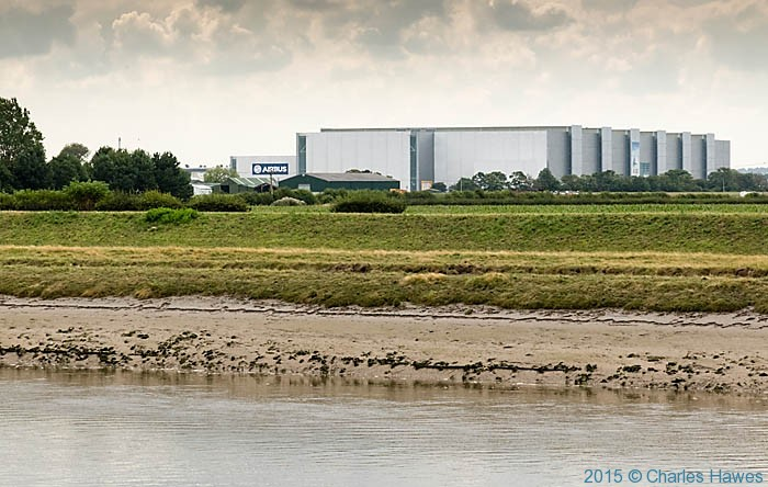 Airbus factory on the River Dee, photographed from The Wales Coast Path by Charles Hawes