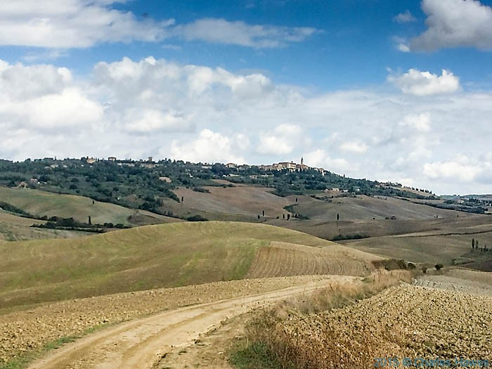 View to Pienza from gravel road near Vitaleta, photographed by Charles Hawes