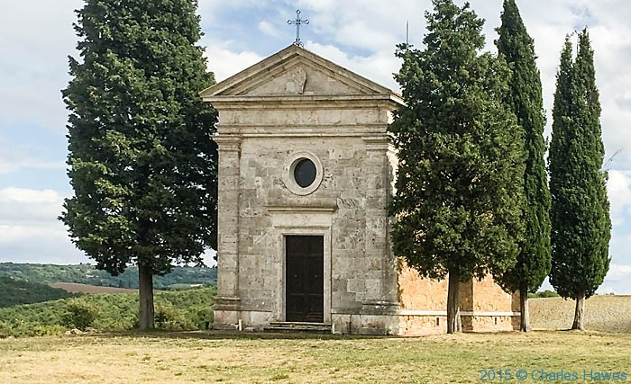 Facade of Vitaleta near Pienza, photographed by Charles Hawes