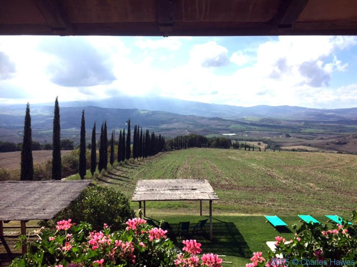View from Bed and Breakfast Palazzolo, La Foce, Tuscany, photographed by Charles Hawes