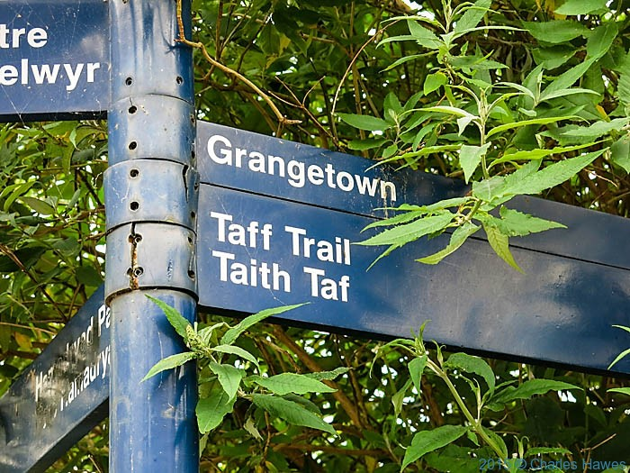 Sign for the Taff Trail in Cardiff, photographed by Charles Hawes
