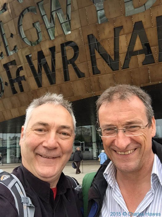 Charles Hawes and Neil Smurthwaite at the start of the Cambrian Way, outside the Millennium Centre in Cardiff