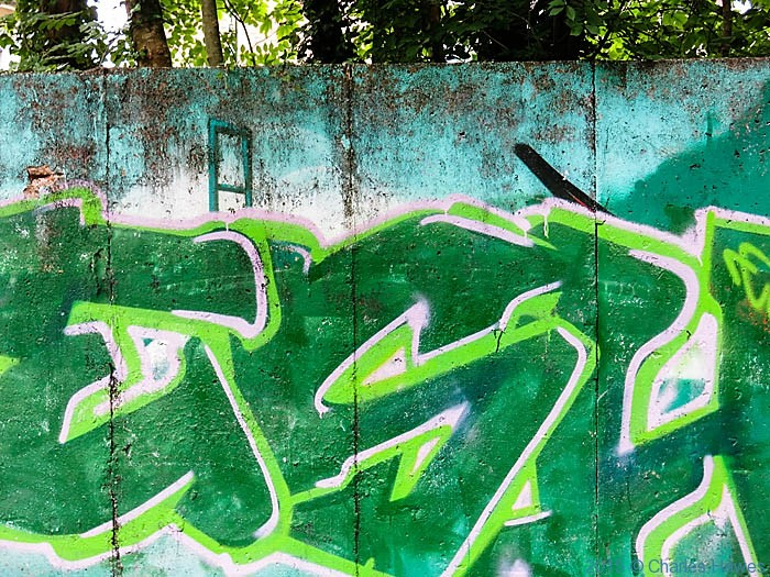 Graffiti near Gabalfa Park, Cardiff, photographed from The Cambrian Way by Charles Hawes