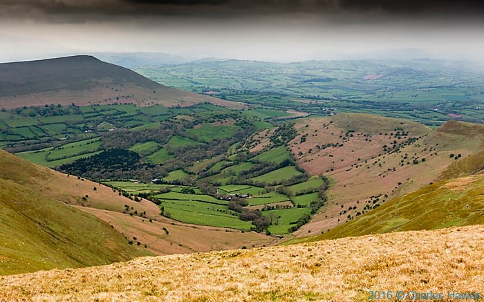 Rhiangoll Valley phtographed from the Cambrian Way in the Black Mountains by Charles Hawes