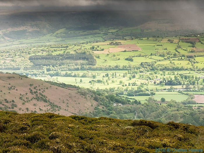 The Usk Valley photographed from the Cambrian Way near Pen Gloch Pibwr by Charles Hawes