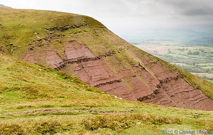 Escarpment of the Black Mountains, photographed from The Cambrian Way by Charles Hawes