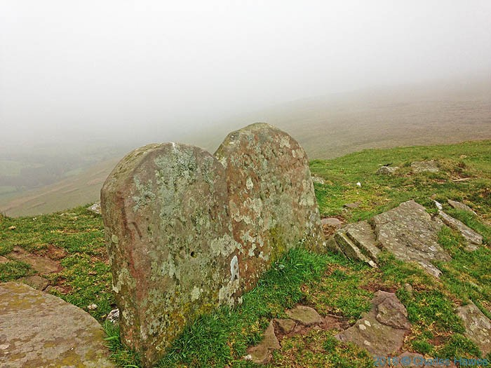 Boundary Stones on Pen Twyn Glas, photographed from The Cambrian Way by Charles Hawes