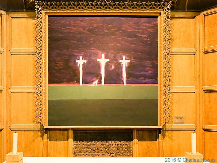 Calvary by Craigie Aitchison in the Anglican Cathedral, Liverpool, photographed by Charles Hawes