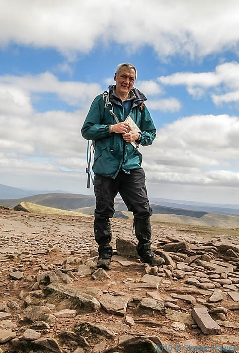 Charles Hawes on summit of Corn Du, photographed by Robert Pinder