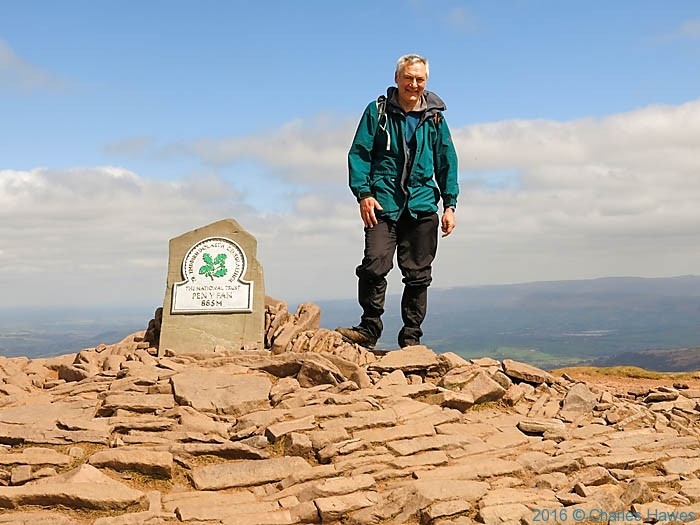 Charles Hawes on the Summit of Pen y Fan, Brecon Beacons, photographed by Robert Pinder
