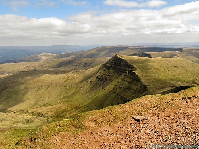 View east from the summit of Pen y Fan, Brecon Beacons, photographed by Charles Hawes